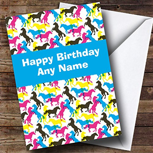 Colourful Horses Personalized Birthday Card - Horse Colourful
