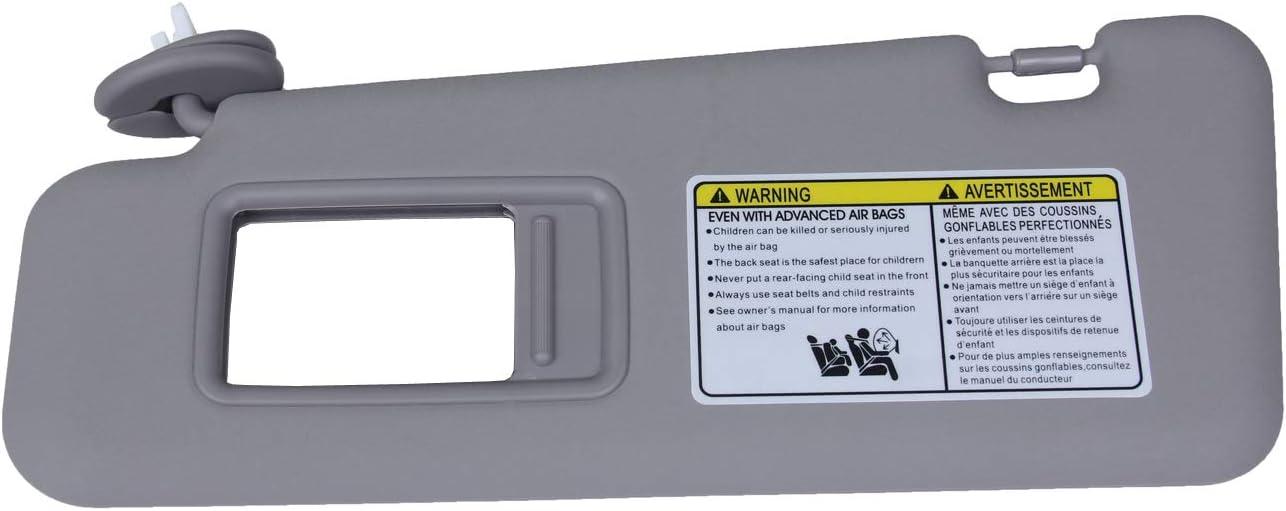 New Left Driver Side Sun Visor Light-Gray For Toyota Highlander 2008-2013 Replace # 74320-48500-B0