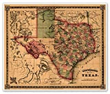 TEXAS and Southwest United States Schonberg's MAP circa 1866 - measures 20'' high x 24'' wide (508mm high x 610mm wide)