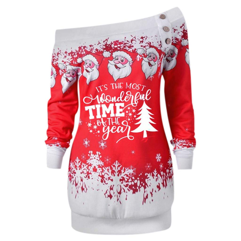 Women Santa Claus Print Tops Skew Collar Long Sleeve Sweatshirt Pullover Plus Size Blouse Christmas Clothes (Red, XL) by Vicbovo Clearance