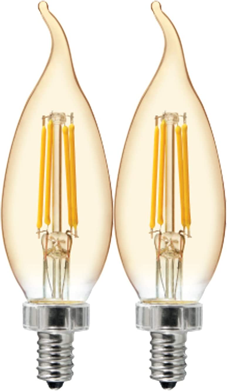 GE Lighting 36548 Amber Glass Light Bulb Dimmable LED Vintage Style Decorative 5.5 (60-Watt Replacement), 400-Lumen Candelabra Base Bent Tip, 2-Pack, Warm Candle
