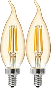 GE Lighting 42149 Amber Glass Light Bulb Dimmable LED Vintage Style Decorative 4 (40-Watt Replacement), 240-Lumen Candelabra Base Bent Tip, 2-Pack, Warm Candle