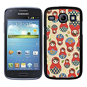 Funda carcasa para Samsung Galaxy Core diseño estampado matrioska borde negro