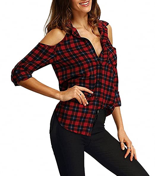 14f0e1b8c2a71e Afibi Women s Off Shoulder Flannel Plaid Shirt Long Sleeve Tartan Casual  Blouse Top at Amazon Women s Clothing store