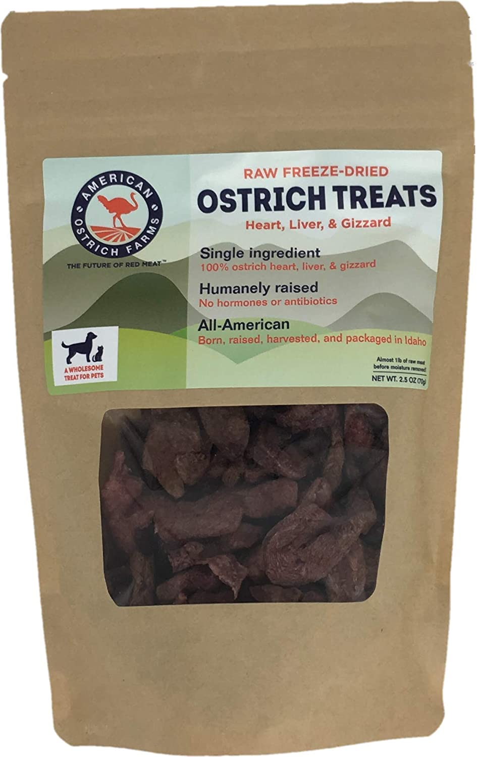 Raw Freeze-Dried Ostrich Treats for Pets: Single Ingredient, All-American, 100% Heart, Liver, Gizzard