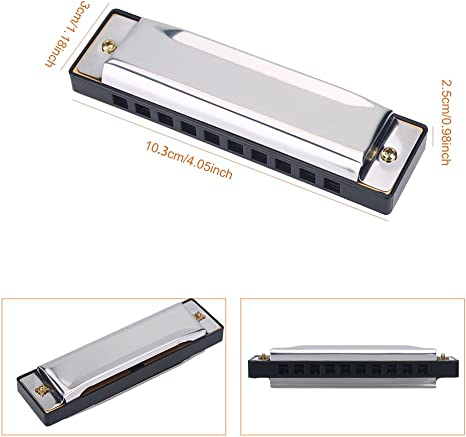 Andifany Kids Children Musical Instrument 32 Holes Metal Bee Harmonica Mouth Organ Black