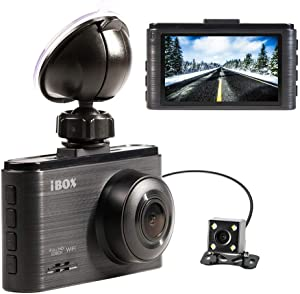 IBOX Dual Dash Cam, Full HD 1080P Dashboard Dual Camera Recorder with HD Rear View Camera, 6-Lens 170° Wide Angle with OMNIVISION WDR, G-Sensor, Parking Monitor and Wi-Fi Support