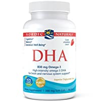 Nordic Naturals DHA, Strawberry - 90 Soft Gels - 830 mg Omega-3 - High-Intensity DHA Formula for Brain & Nervous System Support - Non-GMO - 45 Servings