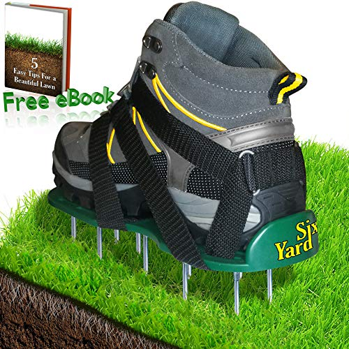 SixYard Lawn Aerator Shoes - Best Heavy Duty Sandals with Spikes and Metal Buckles - for Aerating Your Yard & Garden - Green and Healthy Grass with Strong Roots - ()