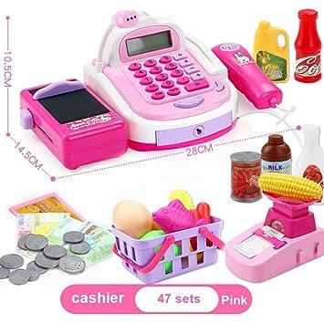 BOBORA Caja Registradora de Juguete con Productos de Supermercado Juguete Electrónico Educativo con Numerosas Funciones para Niño (Rosa): Amazon.es: ...