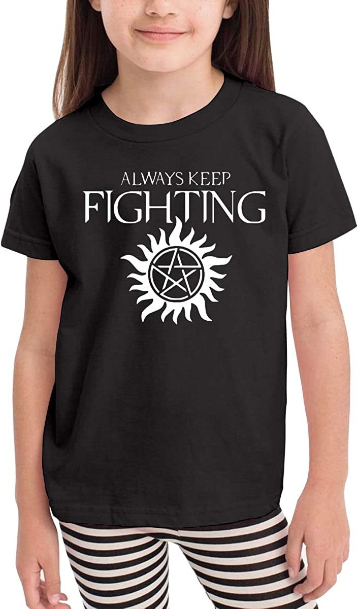 Always Keep Fighting Novelty Cotton T Shirt Personality Black Tee for Toddler Kids Boys Girls