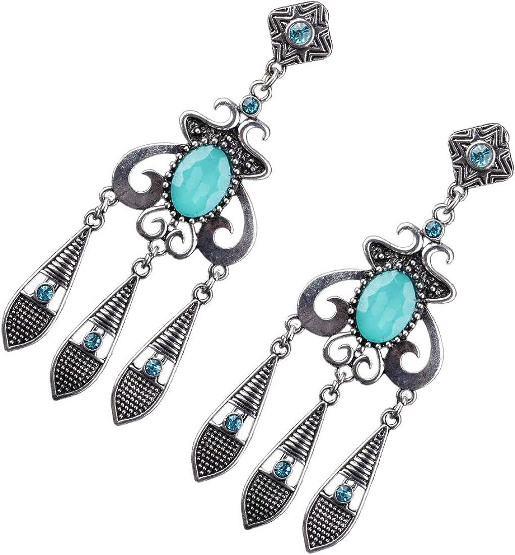 Ai.Moichien Las Mujeres Caen Los Pendientes Colgantes Bohemio Corte Ovalado Diamante De Imitación Plateado Talla Antigua Joyería Étnica