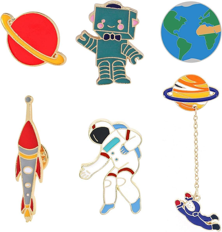 KimYoung Enamel Pin Cute Enamel Lapel Pin Sets Carton Animal Brooch Pin (Planet Spaceman and Robot Set of 6)