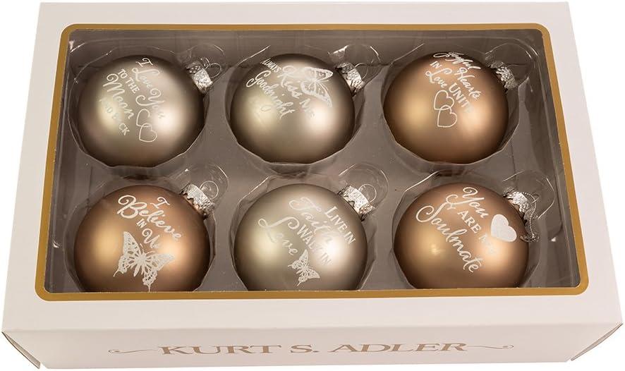 Kurt Adler 80MM Country Home Sentiment Glass Ball Ornaments, 6-Piece Box Set