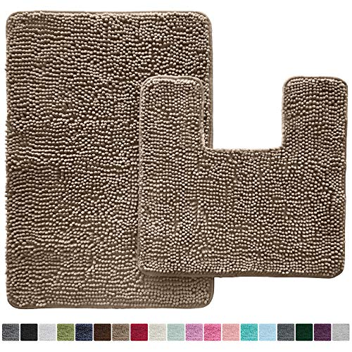 Rugs Bath Chenille - Gorilla Grip Original Shaggy Chenille 2 Piece Bath Rug Set, 19x19 Square U-Shape Contoured Toilet Mat & 30x20 Carpet Rug, Machine Wash/Dry Mats, Soft, Plush Rugs for Tub Shower & Bath Room (Beige)