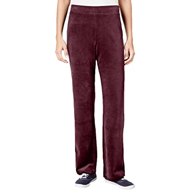 77213afdfb177 Amazon.com  Karen Scott Womens Petites Pull-On Solid Velour Pants ...