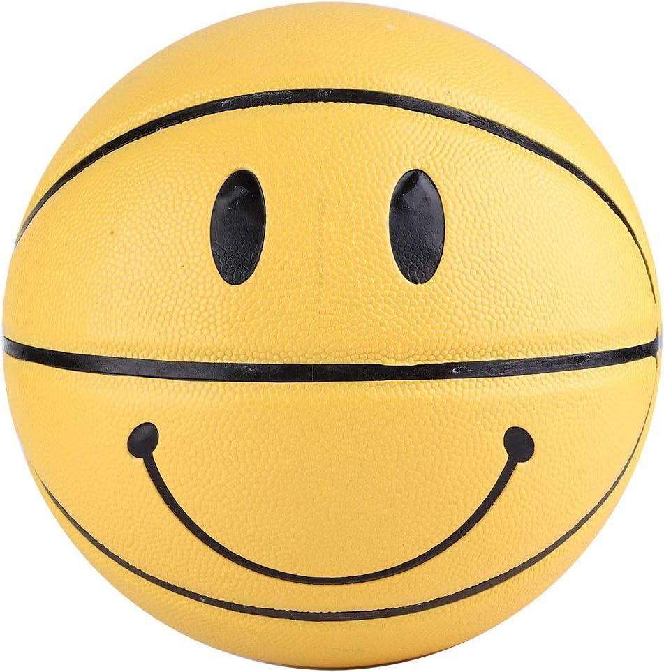 Wolfgo Basketball-5/ème Cool Smiley Basketball Haute /élastique en Cuir r/ésistant /à lusure Ball Jaune