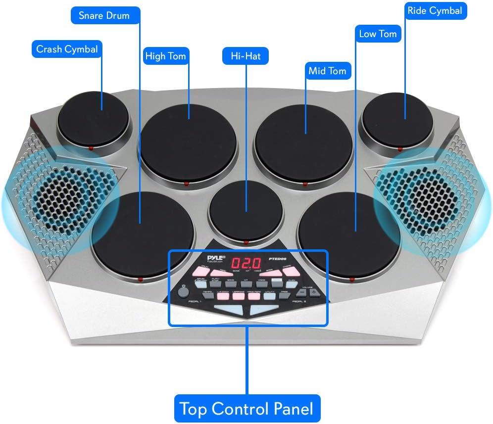 Pyle 7 Pad, Kick Bass Pedal Controller USB AUX Toms, Hi-Hat, Snare Drums,...