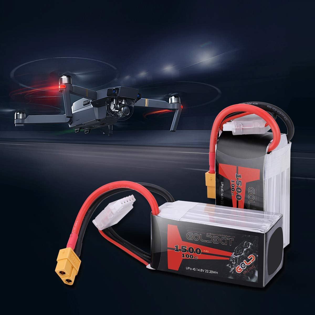 2 Pack GOLDBAT 1500mAh 4S 100C 14.8V Lipo Battery Softcase Pack with XT60 Plug for RC Boat Heli Airplane UAV Drone FPV
