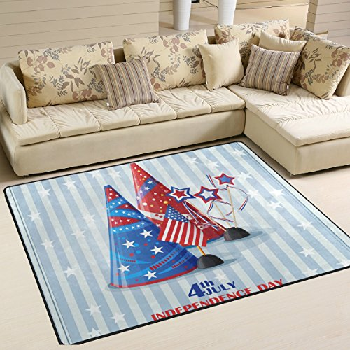 Happy 4Th Of July Patriotic Independence Day Playmat Floor Mat For Dining Room Living Room Bedroom, 7'x5' and - With Studs Versace Sunglasses