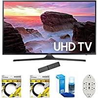 Samsung 40 4K Ultra HD Smart LED TV 2017 Model (UN40MU6300) with 2x 6ft High Speed HDMI Cable, Screen Cleaner for LED TVs & Transformer Tap USB w/ 6-Outlet Wall Adapter and 2 Ports