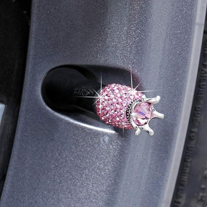 moto e biciclette 4er SET VALVOLA TAPPI CORONA in rosa per auto