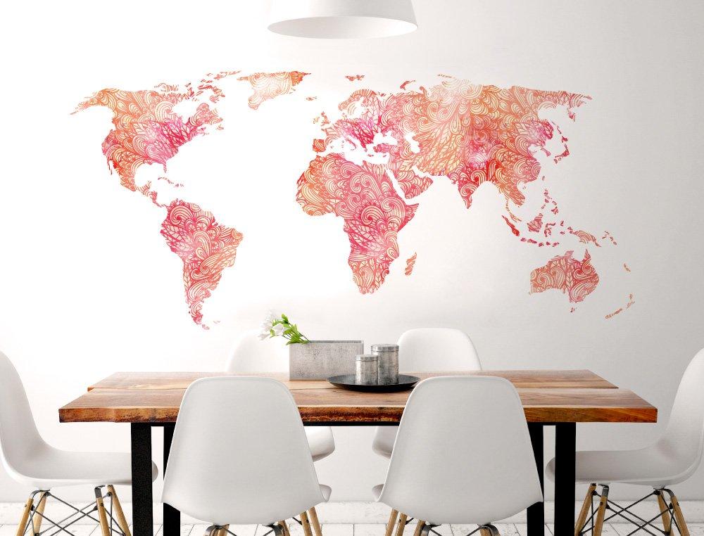 Pegatina de pared Salón Mapa del mundo en naranja y rojo con un ...