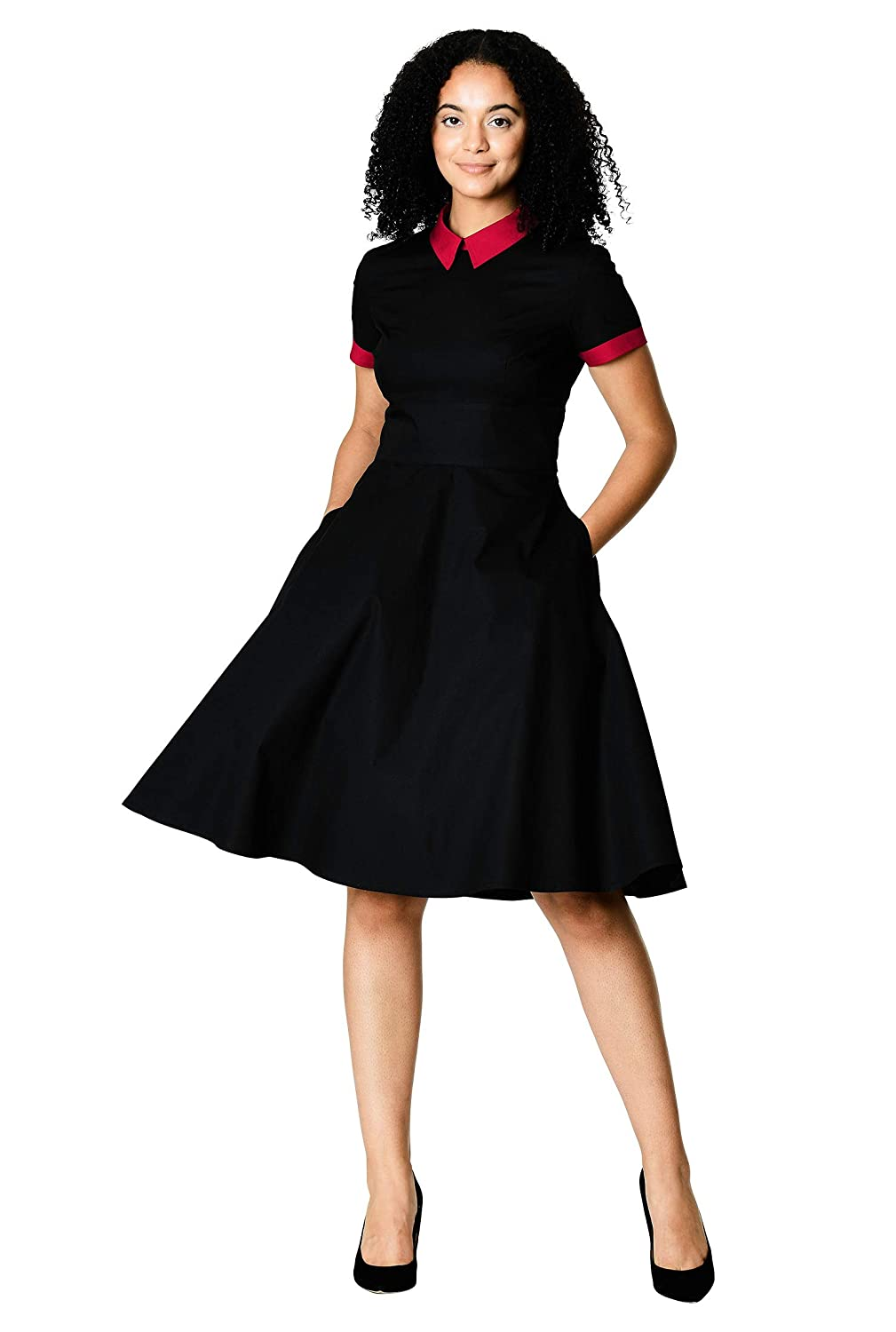 1950s Swing Dresses | 50s Swing Dress eShakti Womens Contrast Collar Cotton poplin Dress $59.95 AT vintagedancer.com