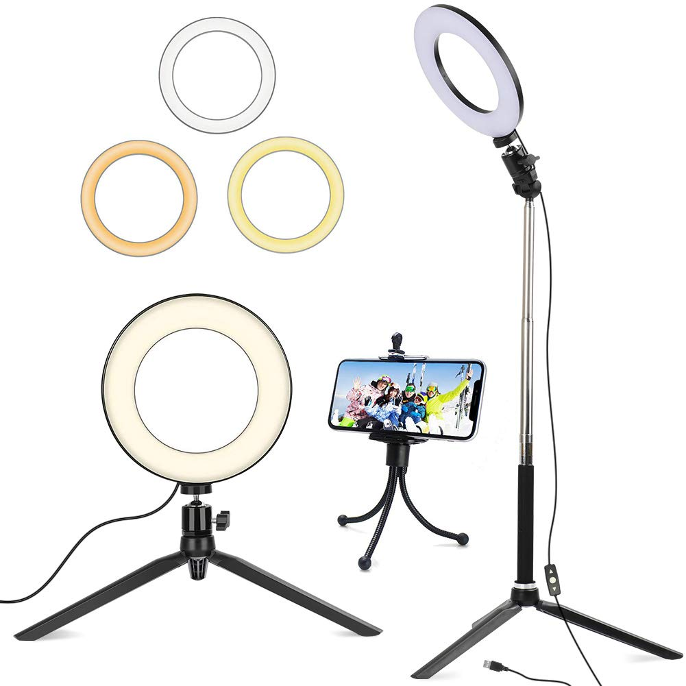 6'' Ring Light with Tripod Stand for Selfie,Makeup Live Cell Phone Holder,Desktop LED Lamp for YouTube