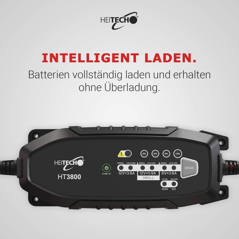 Chargeur dentretien Chargeur de Batterie pour Batteries au Plomb 6-12V et au Lithium 12,8V HEITECH Chargeur de Batterie de Voiture HT3800 enti/èrement Automatique /étanche IP65 test/é T/ÜV /& GS