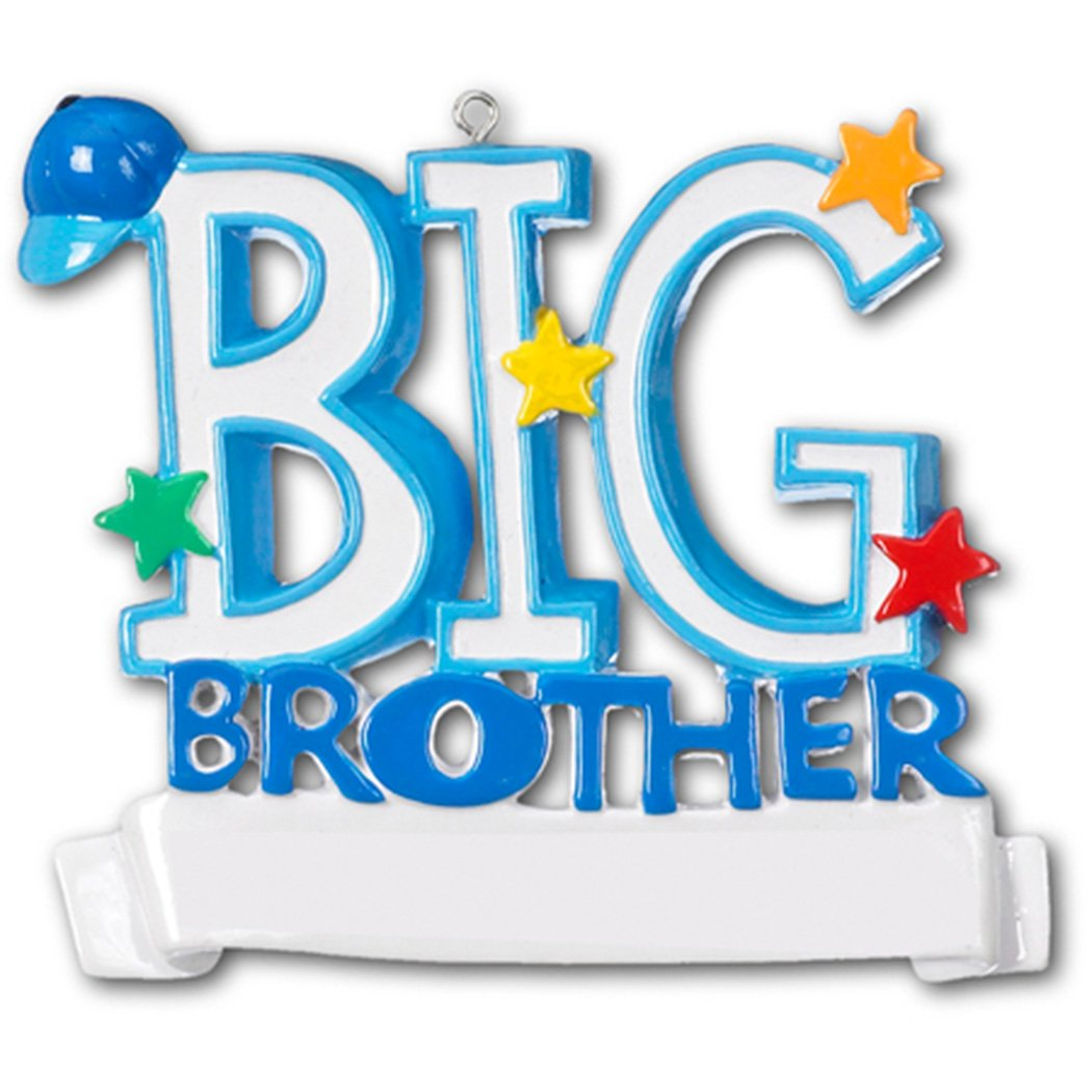 Personalized Big Brother Christmas Ornament for Tree 2018 - Blue Word with Stars Cap - Best World's Greatest Bro Love Family Tradition Special Forever Memory New Sibling - Free Customization by Elves