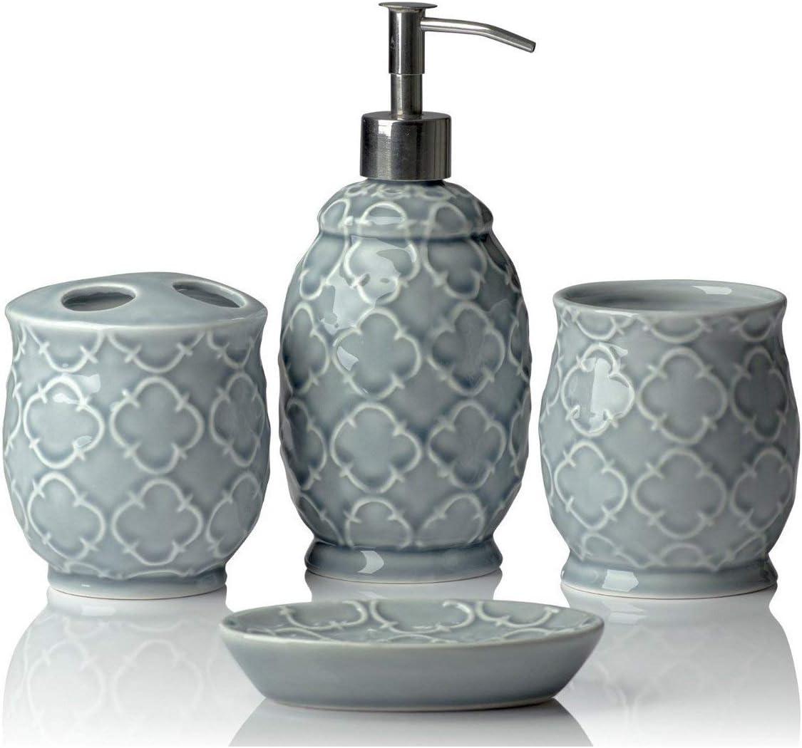 Amazon Com Designer 4 Piece Ceramic Bath Accessory Set Includes Liquid Soap Or Lotion Dispenser W Toothbrush Holder Tumbler Soap Dish Moroccan Trellis Contour Grey Holds 15 6 Oz Home Kitchen