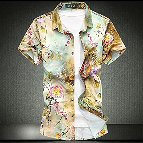 LLS-Shirts lls-chemise de manga corta para hombre/casual Shirt de impresión/ hombre Casual mango corto/Funky camisa hawaiana/camiseta casualimpression de gran tamaño, verde, 5XL: Amazon.es: Deportes y aire libre