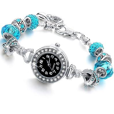 Beloved ❤️ Orologio braccialetto da donna con cristalli bracciale con beads argento compatibile pandora beads in vetro, cristalli e metallo