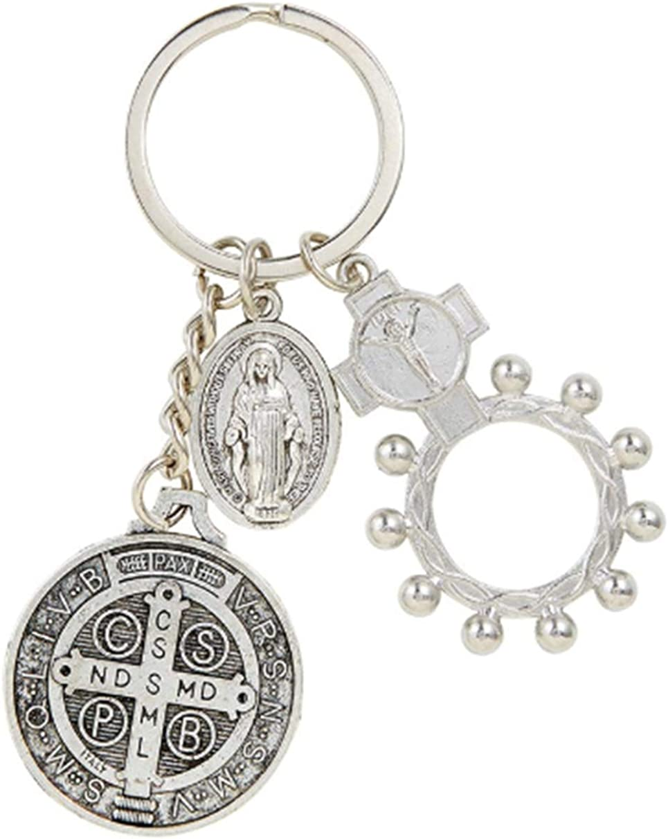 Saint Benedict Key Chain with One Decade Rosary Ring and Miraculous Medal, Keychain for House or Car Keys, 3 1/2 Inches
