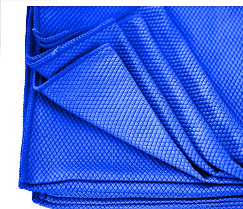 3 BLUE DIAMOND WEAVE MICROFIBER GLASS DETAILING CLEANING LINT FREE TOWELS 16X16 By Omni Linens (Golf Iii Gt)