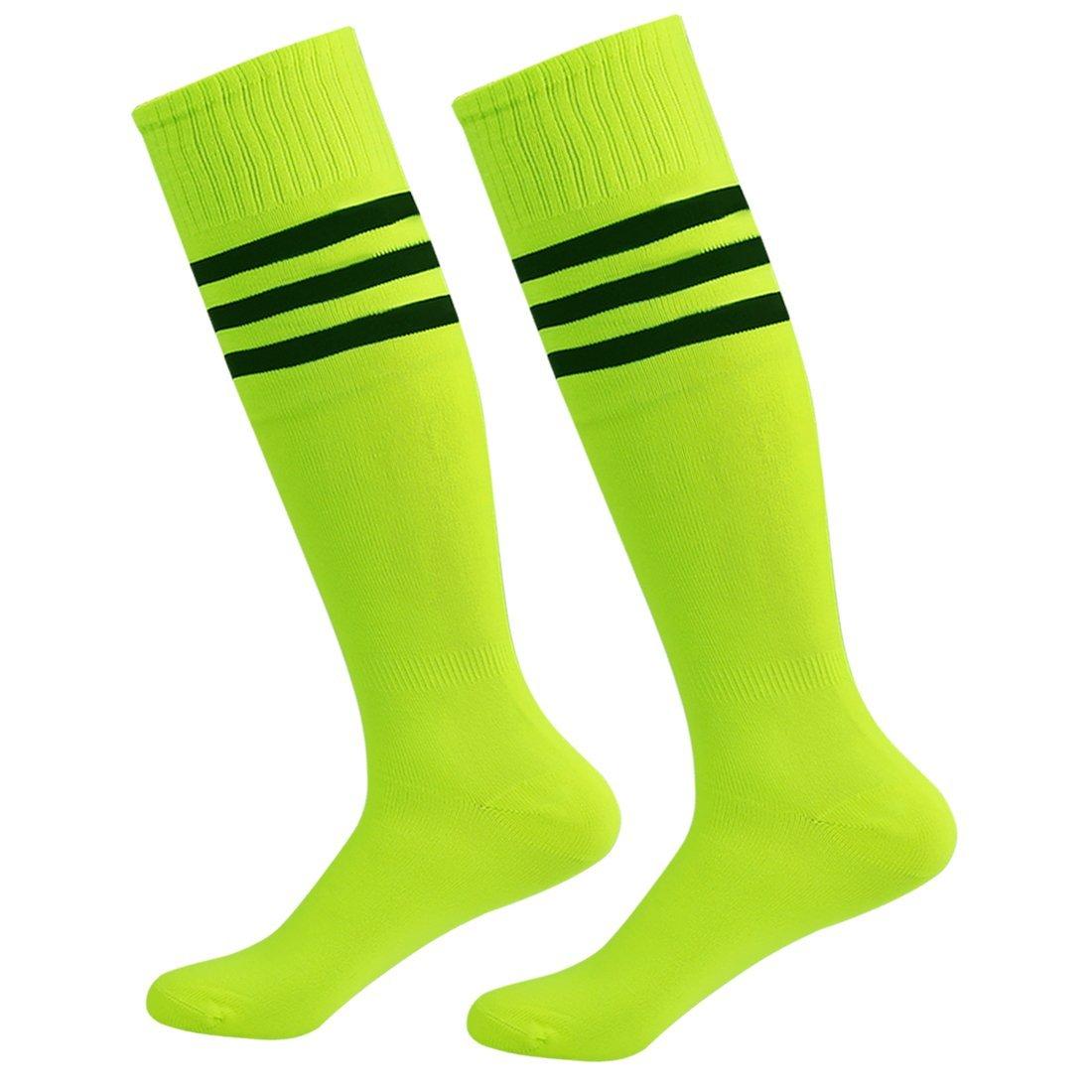 Fasoar Men's Women's Triple Stripe Knee High Soccer Tube Socks 2 Pack Fluorescence Green by Fasoar