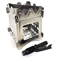 Survival Outlaw - Wood Burning Camp Stove -Uses Twigs, Sticks, and Pellets - 304 Stainless Steel - Portable & Compact - Perfect For Emergency Bushcraft or Backpacking - Free Outlaw Striker Firestarter