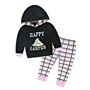 Cellicigal Baby Girl 2pcs Set Outfit Long Sleeve Letter Print Hoodies Top + Grid Long Pants (6-12 Months, Pink)