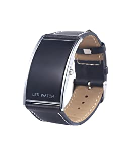 SODIAL(R) man and woman arcuate LED digital date fake leather strap trendy watch black