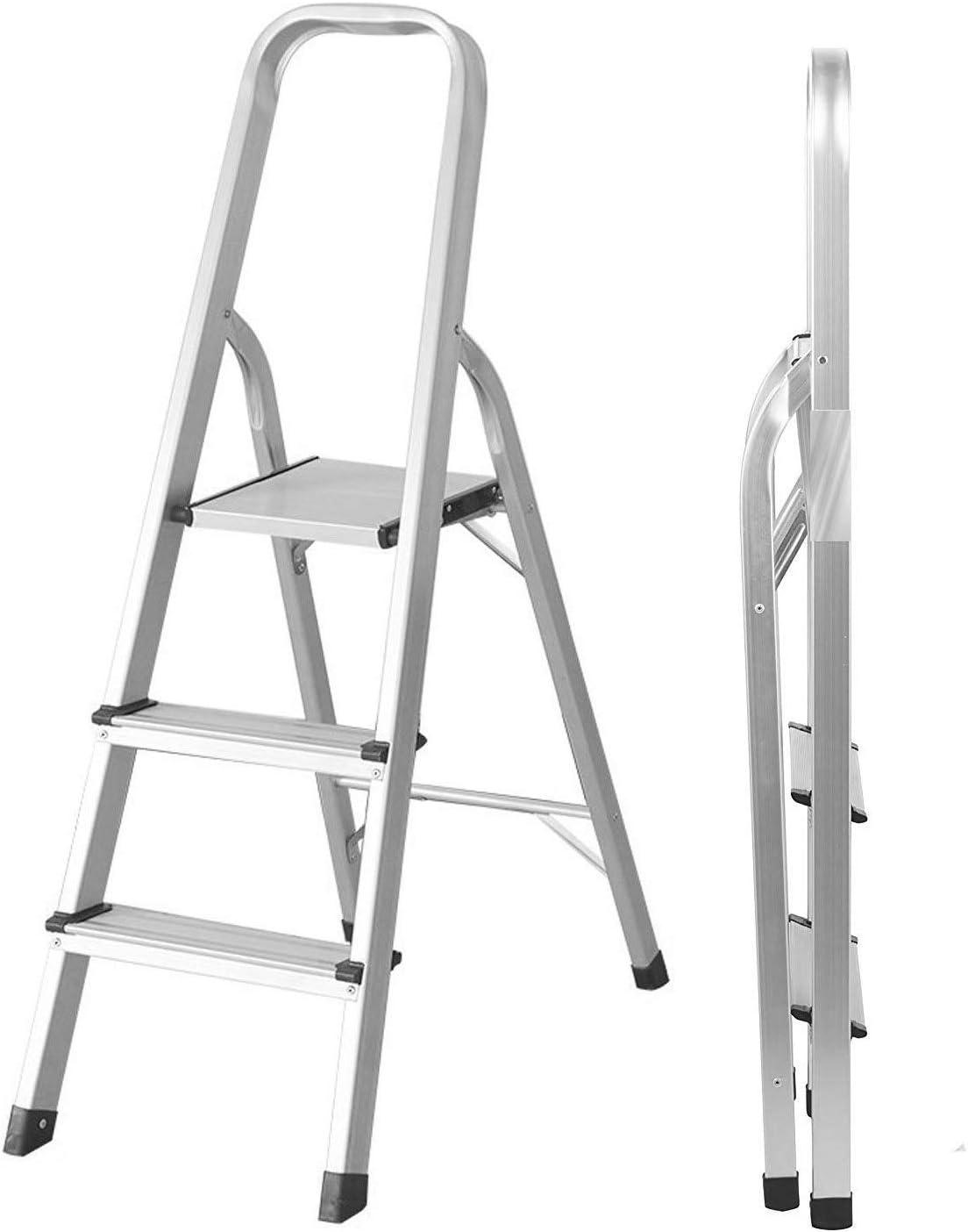 Escalera de 3 peldaños – Escalera portátil plegable de aluminio para barandilla, resistente, con bandeja de goma antideslizante multifunción, peso ligero, carga de 150 kg, fácil de guardar, plateado: Amazon.es: Bricolaje y herramientas