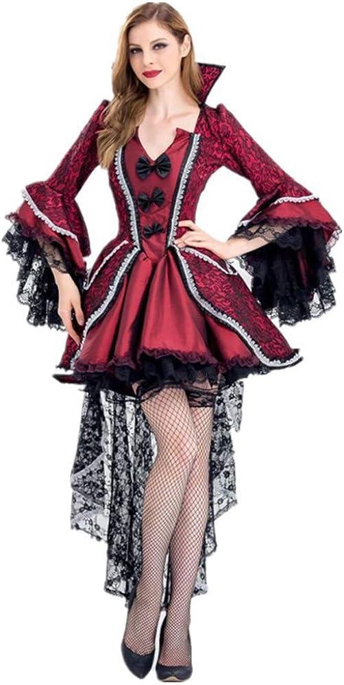 DishyKooker Mujeres Disfraz de Halloween de época victoriana roja ...