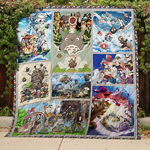 Studio Ghibli Quilt TH339b, King All-Season Quilts Comforters with Reversible Cotton King/Queen/Twin Size - Best Decorative Quilts-Unique Quilted for Gifts ()