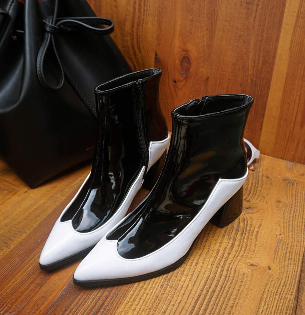 Frauen Martin Stiefel künstliche PU wies wies wies Kurze Stiefel mit hohem Absatz seitlichen Reißverschluss Stiefeletten im britischen Stil Herbst und Winter, Weiß,44EU a1f063