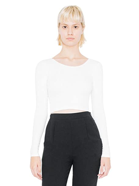 American Apparel Women's Cotton Spandex Jersey Long Sleeve Crop Top Size XS