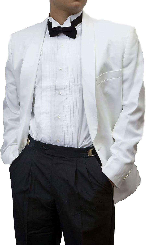 Broadway Tuxmakers Mens 100% Wool Adjustable Black Tuxedo Pants with Satin Stripe