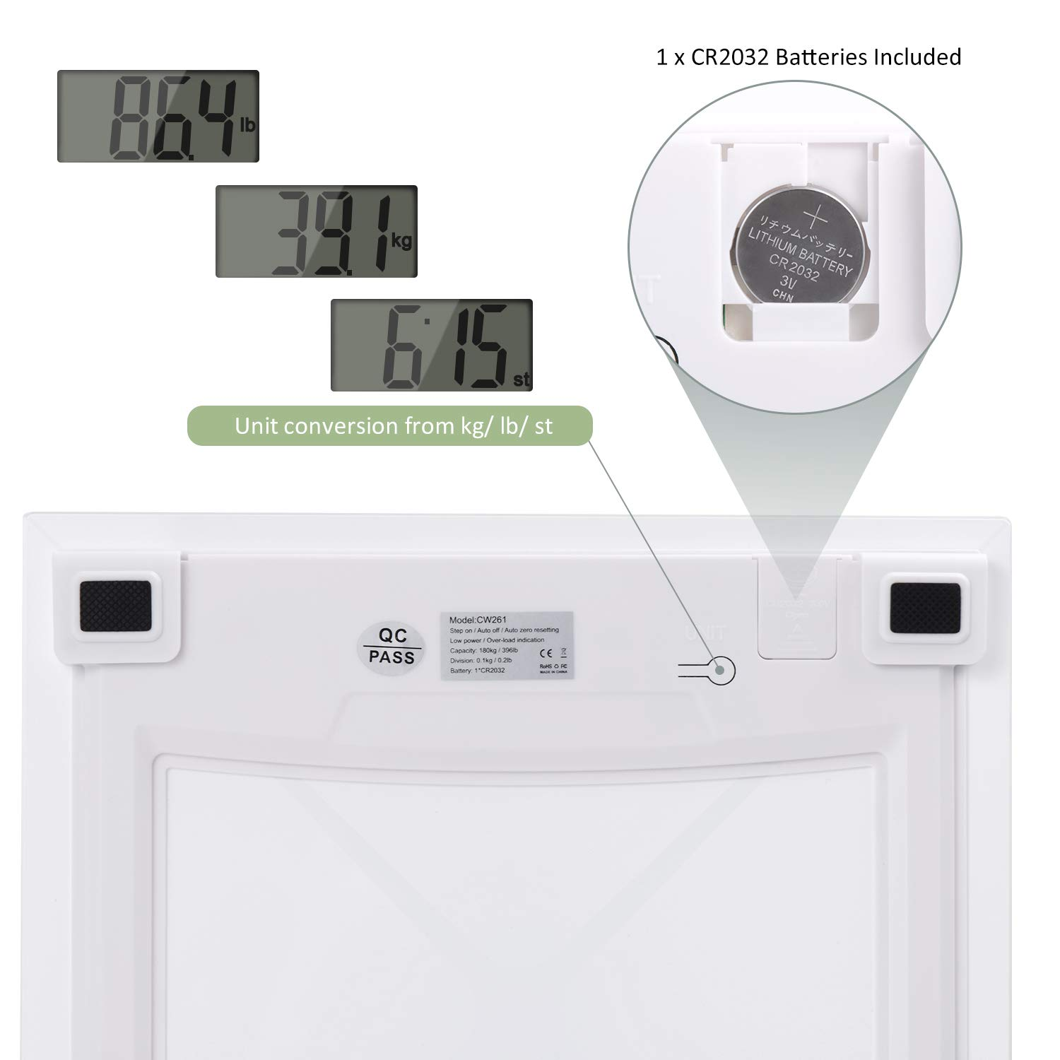 Digital Body Weight Scale, Bathroom Scale with Advanced Step-on Technology and LCD Backlight Display Scale,Tempered Glass Surface (White Silver) by AdorioPower (Image #4)