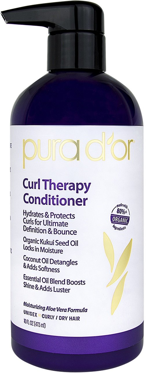 PURA D'OR Curl Therapy Conditioner for Curly, Wavy or Frizzy Hair, Improves Shine, Definition & Bounce, Gentle Sulfate Free Formula Infused with Natural & Organic Ingredients for Men & Women, 16 Fl Oz