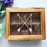 Vintage Wooden Wedding Card Box Arrow Personalized Name Wedding Guest Book Heart Wedding Wishes Box Rustic Wedding Gifts 12104.5 cm