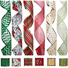iPEGTOP Wired Christmas Ribbon, Assorted Organza Swirl Sheer Glitter Crafts Gift Wrapping Ribbons Colorful Christmas Design Decorations, 36 Yards (6 Roll x 6 yd) by 2.5 inch, Floral Poinsettia Plaid